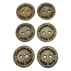 """Kokosnød træknap med tekst """"handmade with love"""". Pose med 6 knapper, 15mm"""
