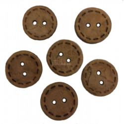 Kokosnød træknap med syning. Pose med 6 knapper, 15mm