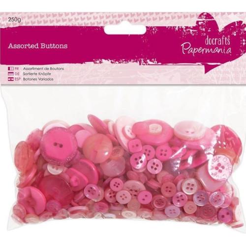 Pose med 250g blandet knapper i pink farver og assorterede størrelser