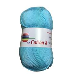 Cotton 8. Farve 1460, isblå
