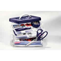 Plastboks til opbevaring, låg samt 3 bokse, kan udvides, 24 x 16,5 x 14 cm, UDEN indhold