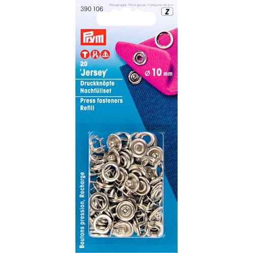 Jersey trykknap 10mm sølv, æske med 20 sæt