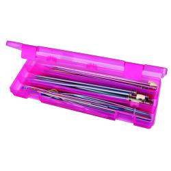 Plastboks til strikkepinde, lyserød (uden indhold)