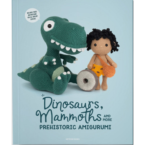 Dinosaurs, mammoths and more prehistoric amigurumi- 14 stk, 16 -45 cm, engelsk