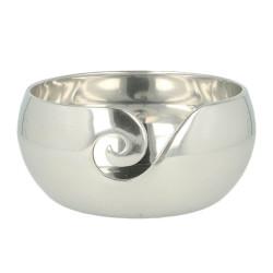 Strikkeskål i poleret alumimium, sølv 15 x 7 cm