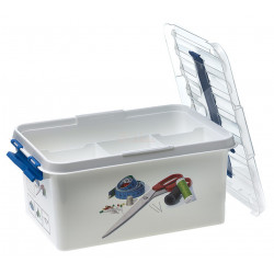 Plastboks hvid/blå med rum, 6 liter , 19,5 x 29,5 x 14 cm