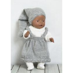 """""""Marta"""" Nederdel og hue, genser og strømpebukser - Viking Design 1512-13 Kit - Babyborn 42 cm - Viking Baby Ull"""