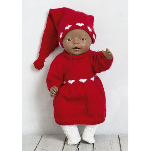 Hjertekjolen og hue - Viking Design 1512-14 Kit - Babyborn 42 cm - Viking Baby Ull