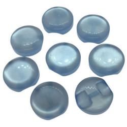 """Katteøje"" knap lys blå. Pose med 8 plastik knapper, 12mm"