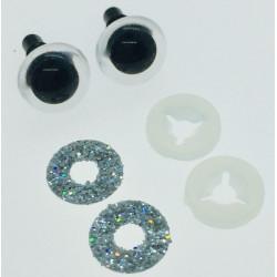 Sølv glimmer sikkerhedsøjne 9mm, 1 par