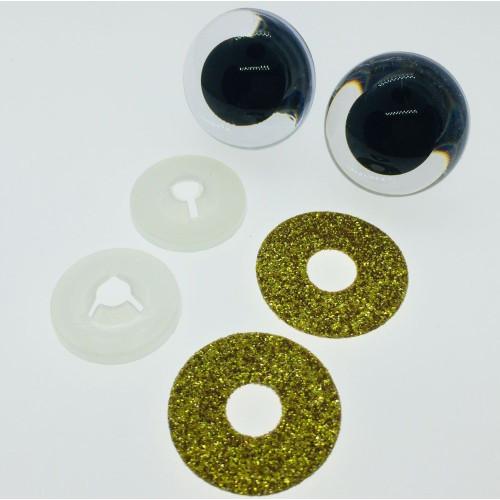 Guld glimmer sikkerhedsøjne 22mm, 1 par