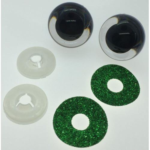 Mørkegrønne glimmer sikkerhedsøjne 22mm, 1 par