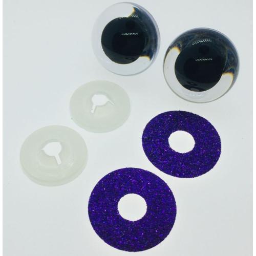 Mørkelilla glimmer sikkerhedsøjne 22mm, 1 par