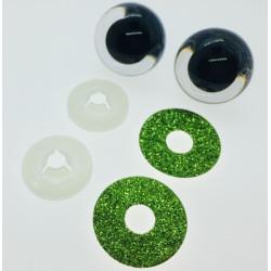 Gulgrønne glimmer sikkerhedsøjne 22mm, 1 par