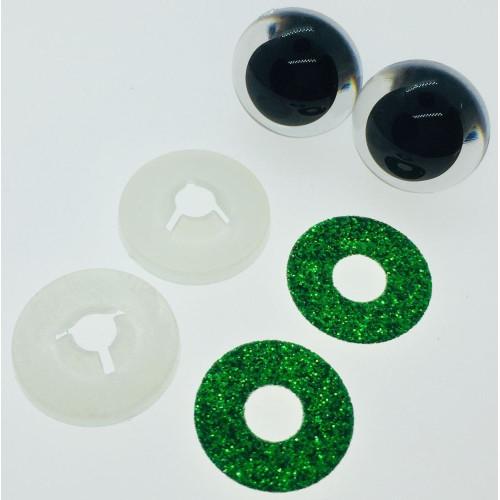 Mørkegrønne glimmer sikkerhedsøjne 20mm, 1 par