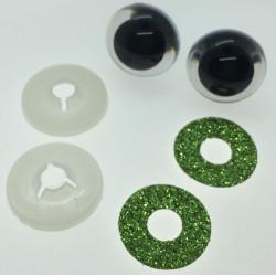 Gulgrønne glimmer sikkerhedsøjne 20mm, 1 par