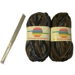 Strømpe- og sportsgarn (2 x 50g) + strømpepinde. Farve 01