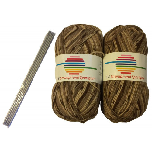 Strømpe- og sportsgarn (2 x 50g) + strømpepinde. Farve 02