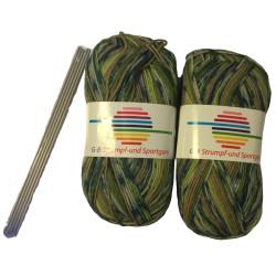 Strømpe- og sportsgarn (2 x 50g) + strømpepinde. Farve 03
