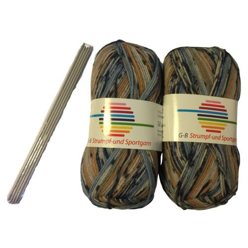 Strømpe- og sportsgarn (2 x 50g) + strømpepinde. Farve 04