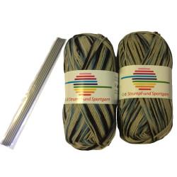Strømpe- og sportsgarn (2 x 50g) + strømpepinde. Farve 07