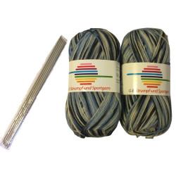 Strømpe- og sportsgarn (2 x 50g) + strømpepinde. Farve 08