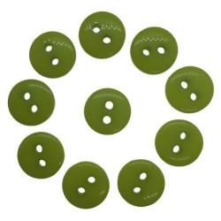 Lime grønne plastikknapper. Pose med 10 knapper. Størrelse 10mm.