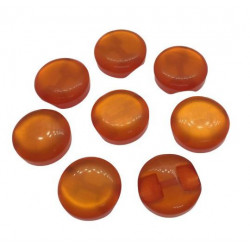 "Image of   ""katteøje"" knap orange. pose med 8 plastik knapper, 12mm garn"