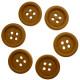 Lys gulbrun træknap med kant. Pose med 6 knapper 15mm