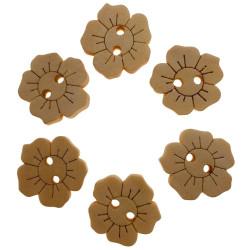 Blomst med prægning, natur træknap. Pose med 6 knapper 15mm