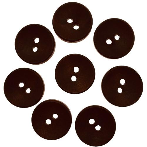 Mat mørkbrun træknap. Pose med 8 knapper 15mm