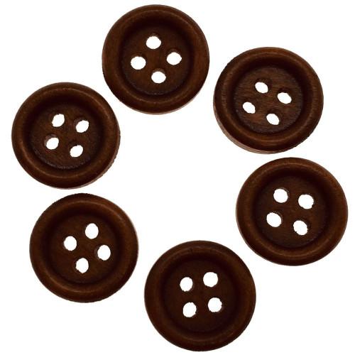 Mørk rødbrun træknap med kant. Pose med 6 knapper 13mm