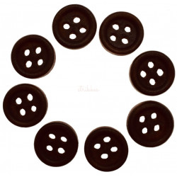 Mørkbrun træknap med kant. Pose med 8 knapper 10mm