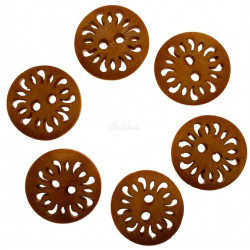 Orangebrun træknap med udskæring. Pose med 6 knapper. 18mm