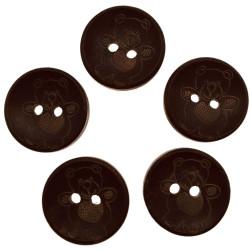 Mørkebrune knapper i træ med bamse. Pose med 5 stk, 20mm