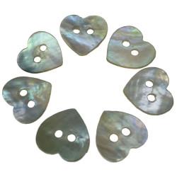 Hjerte perlemor knap. Pose med 7 knapper. 12mm