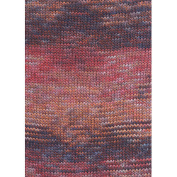 Lang Yarns Camille. Farve 53, rød/orange/brun