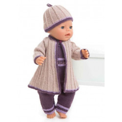 Kåbe og hue - Viking Design 1405-1 Kit - Babyborn 42 cm - Viking Baby Ull