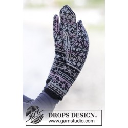 Image of   Moonflower mittens by drops design one-size drops fabel garn