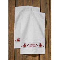 Gæstehåndklæder, Merry Christmas, 2 stk i pk, 30 cm x 50 cm