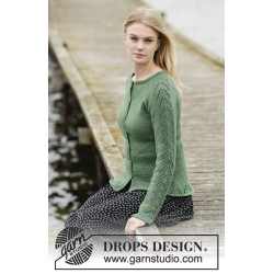 Green forest cardigan by drops design s-xxxl drops cotton merino