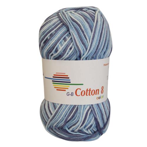 Cotton 8 color. Farve 008, lilla & blå toner
