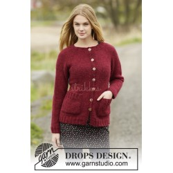 Winter Wine Cardigan by DROPS Design S-XXXL DROPS AIR