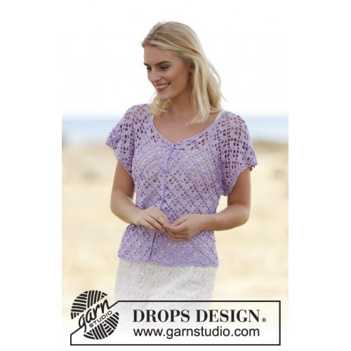 Shy Violet Cardigan by DROPS Design S-XXXL DROPS SAFRAN