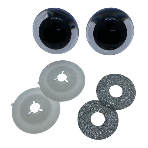 Sølv glimmer sikkerhedsøjne 30mm, 1 par