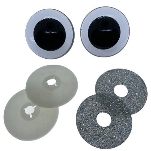 Sølv glimmer sikkerhedsøjne 40mm, 1 par