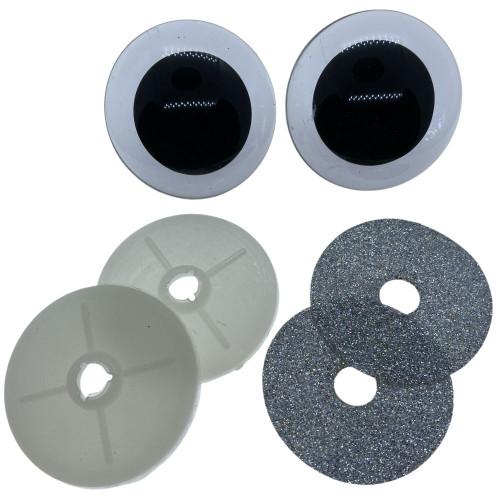 Sølv glimmer sikkerhedsøjne 50mm, 1 par