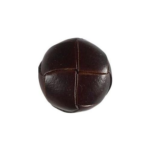 Brun knap med læderlook, 1 stk, 20mm