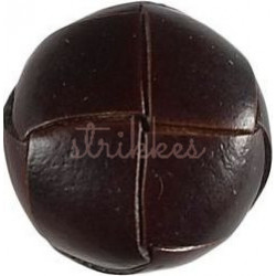 Brun knap med læderlook, 1 stk, 25mm