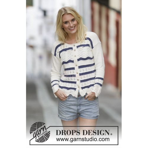 Nautical Waves Cardigan by DROPS Design S-XXXL DROPS COTTON LIGHT